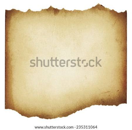 Brown torn grunge paper texture isolated on white background