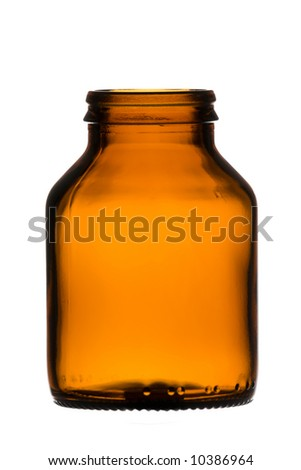 Brown transparent bottle isolated over white background