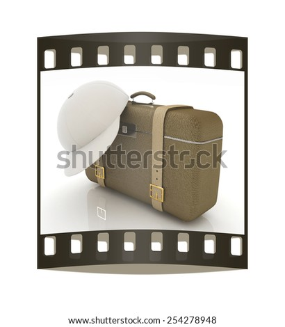 Brown traveler's suitcase and peaked cap on a white background. The film strip