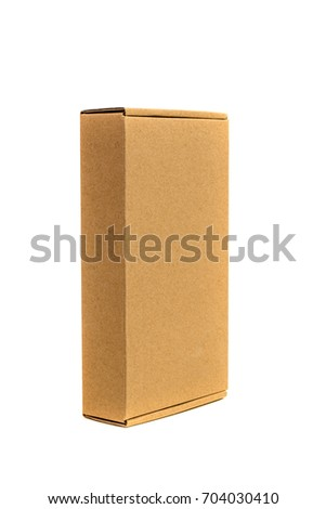 Brown tray or brown paper package or cardboard box isolated with soft shadow on White background