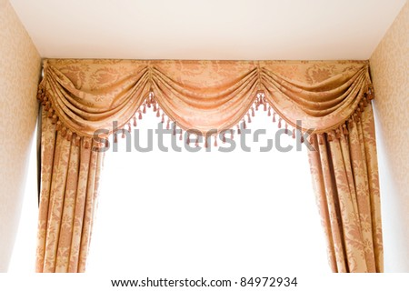 brown velvet theater curtains in a room over white background. - stock photo