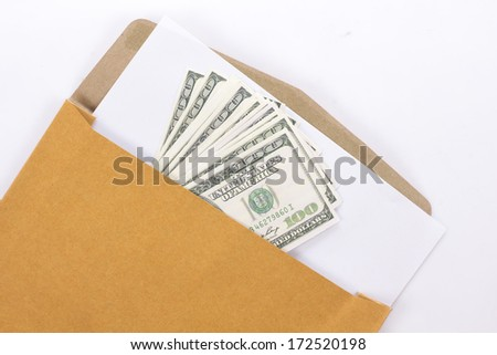 Brown Vintage and money Envelope with blank paper on white - stock photo