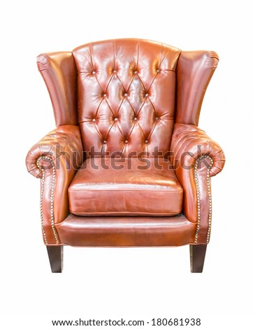 brown vintage armchair isolated on white background - stock photo
