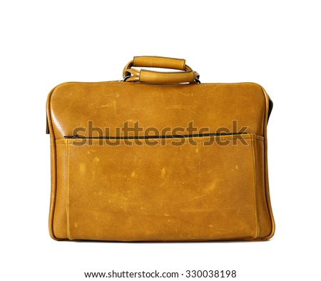 Brown vintage bag isolated on white. Old trunk - stock photo
