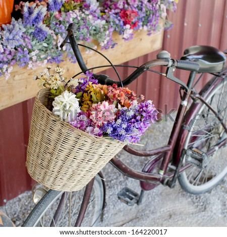 brown vintage bicycle with flowers on thered wall.