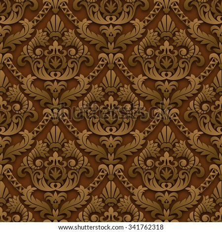 Brown vintage cut paper seamless pattern background with shadows and highlights