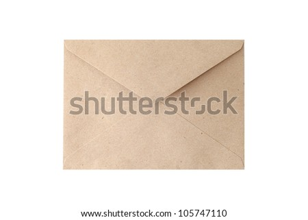 Brown Vintage Envelope on white. - stock photo