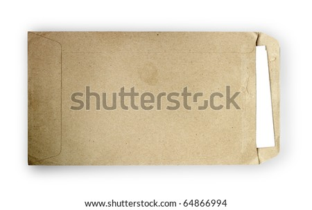 brown vintage envelope with white paper - stock photo