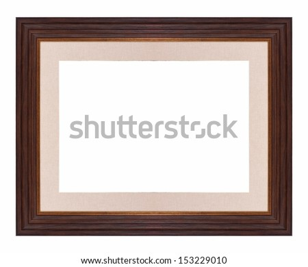 Brown vintage frame isolated on white background.