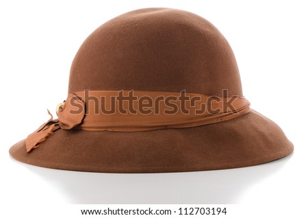 Brown vintage hat on white background. - stock photo