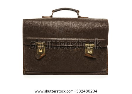 Brown vintage leather briefcase isolated on white background