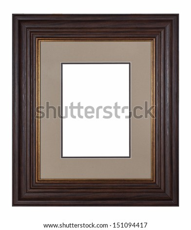 Brown vintage picture frame isolated on white background.