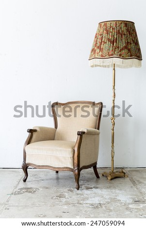 brown Vintage retro style Chair with lamp - stock photo