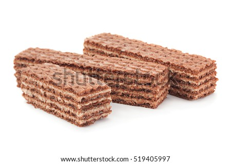 Brown wafer closeup isolated on white background
