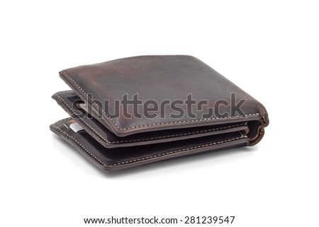 Brown wallet isolated on white background.