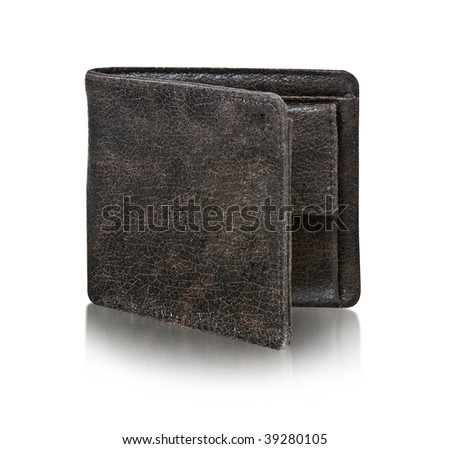 brown wallet isolated on white background