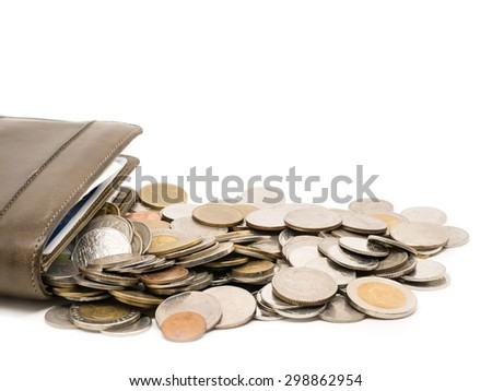 Brown wallet with Thai coins in white background.