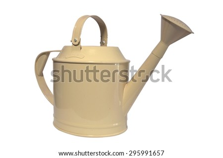 Brown watering can, pot on white background