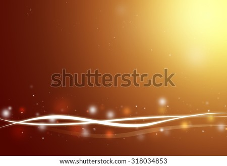 Brown wave and glitter sparkle defocused rays lights bokeh abstract background.