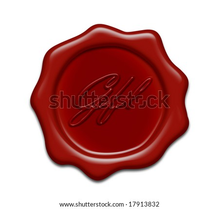 brown wax seal on white background - stock photo