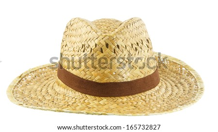 Brown weave hat on white background