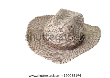 brown weaving hat with ribbon isolated on white - stock photo