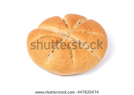 Brown Wheat bread whole meal grain loaf round on white background - stock photo