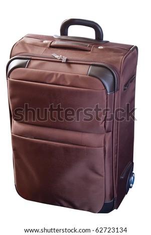 brown wheeled luggage over white - stock photo