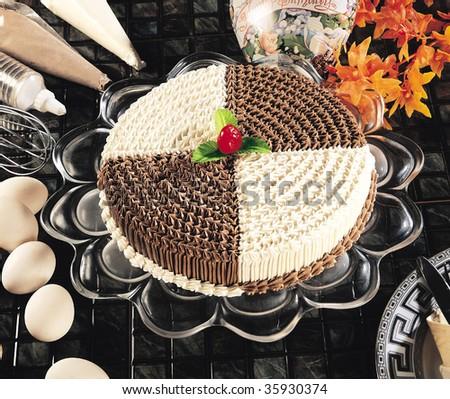 Brown & White Cake - stock photo