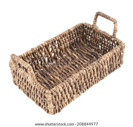 Brown wicker basket, box shaped, isolated over white background