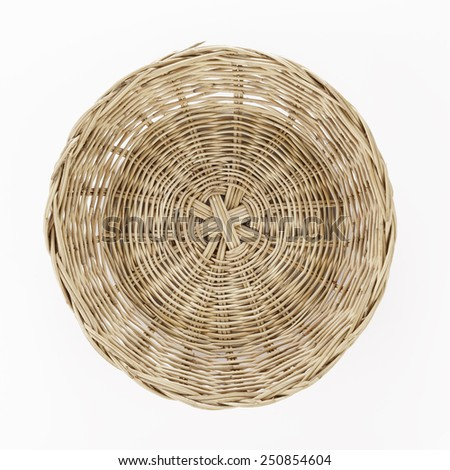 Brown wicker basket on white background, top view - stock photo