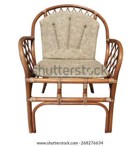 Brown wicker chair isolated over white background - stock photo