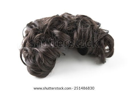 brown wig isolated on a white background - stock photo