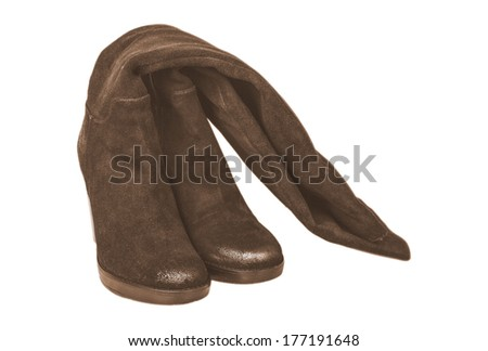 brown women's boots on white background - stock photo