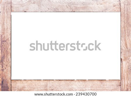 Brown wood frame  isolated on white .  - stock photo