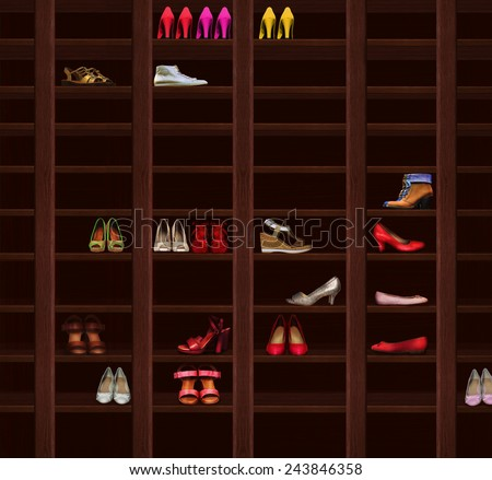 Brown Wood Shelves with Women's Shoes. Wardrobe - stock photo