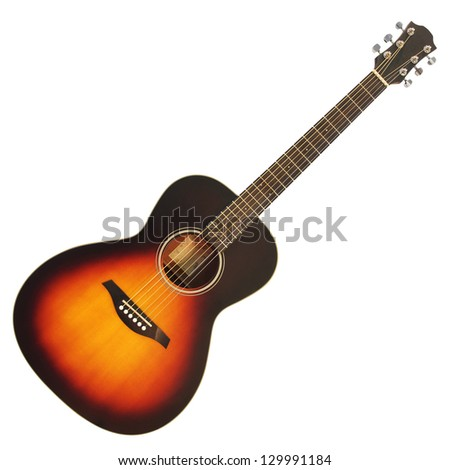 Brown wooden acoustic guitar isolated on white background - stock photo