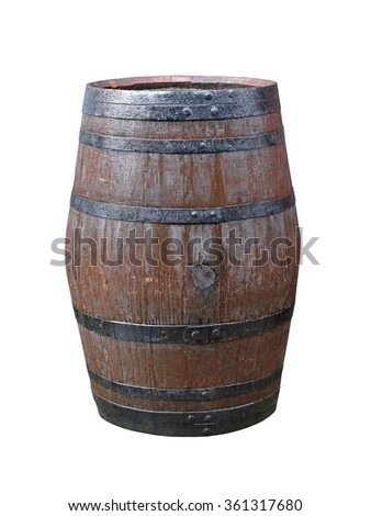 Brown Wooden Barrel Isolated Included Clipping Path - stock photo