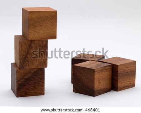 Brown wooden building blocks - stock photo
