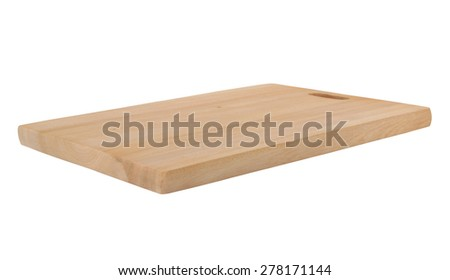 Brown wooden cutting board isolated on white background - stock photo