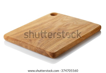 Brown wooden cutting board isolated on white background. Clipping path - stock photo