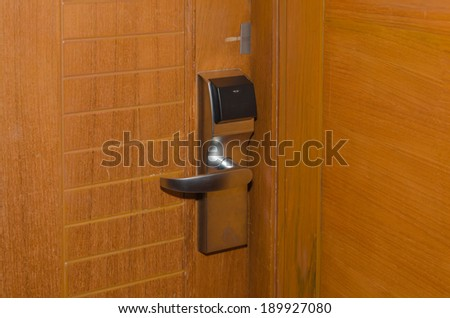 Brown wooden door handles