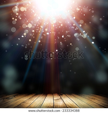 Brown wooden floor with natural patterns and flying stars. Christmas background  - stock photo
