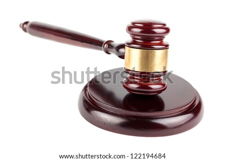 Brown wooden gavel isolated on white background