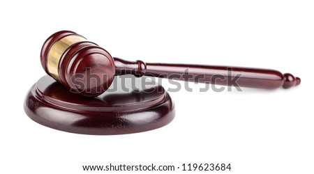 Brown wooden gavel with shadow isolated on white