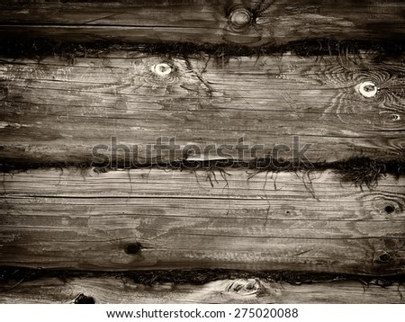 Brown wooden logs wall background - stock photo
