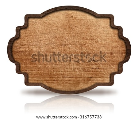 Brown wooden ornate signboard and reflection, with dark frame on scratched board - stock photo