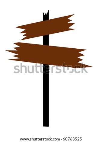 Brown wooden sign on a white background