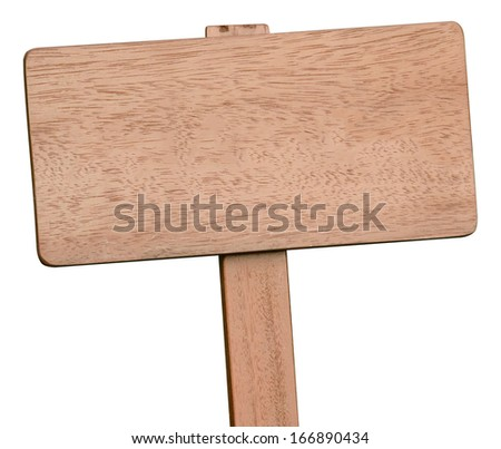Brown wooden signboard on white background