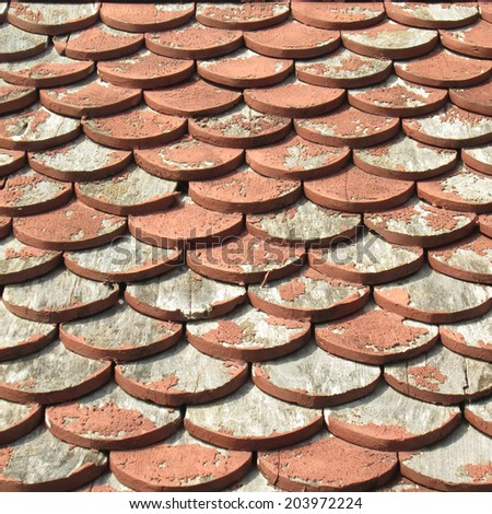Brown wooden tiles roof background - stock photo